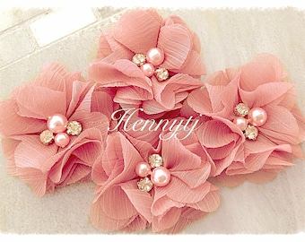NEW: 4 pcs Aubrey DUSTY CORAL  - Soft Chiffon with pearls and rhinestones Layered Small Fabric Flowers, Hair accessories