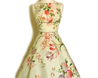 Bright Spring Green Floral Tiffany Tea Dress- Made by Dig For Victory