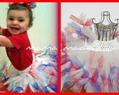 4th of July Petti-tutu white shimmer Petti-Tutu w/ red and blue ties  with matching hair accesory Size Newborn through Girls 14