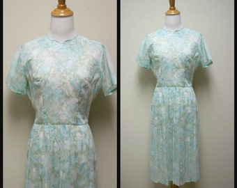 VTG 50s/60s Handmade Homemade Pale Blue Sheer Cotton Blend Day Dress Size S
