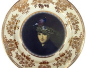 "Portrait of a Bird Brain - Altered Vintage Plate 10.2"""