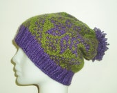 Knit Hat Slouchy Beanie Women hat gift for her Slouchy Beanie hat Warm Slouchy Hat Hand Knit Hat Winter hat Purple Green Fashion