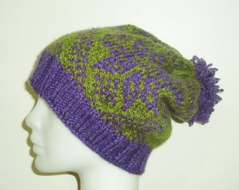 Knit Hat Slouchy Beanie Women hat gift for her Slouchy Beanie hat Warm Slouchy Hat Hand Knit Hat Winter hat Purple Green Fashion