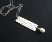 Sterling Silver Quote Necklace Freshwater Pearl Silver Necklace Hand Stamped Jewelry Wise Virtuous Necklace Long Silver Necklace