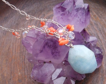 Sterling Silver Aquamarine and Coral Necklace