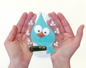 Easter Egg Blue Bird Fused Glass Ornament Suncatcher Blue Nursery Decor Handmade OOAK