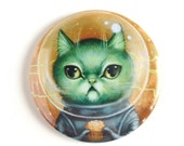Pretty Pocket Mirror - Moon Muffins - Caturn Space Cat - pocket mirror by Mab Graves