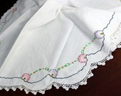 Small Table Cloth, Linen Tablecloth, Embroidered Cloth, Crochet Lace Edged 12130