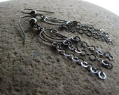 Sterling Silver Oxidized Dark Chain Earrings Chandeleir Dangle Earrings