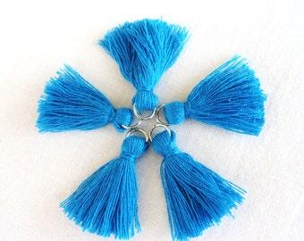 Blue Cotton Tassels With Rhodium Plated Ring 25-30mm, Mini Thread Tassels, Thick Tassels Charm, Tassel Pendant  - 2 pieces