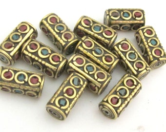 2 beads - Nepal beads Rectangular cube Tibetan brass Beads with turquoise coral inlay  - BD649