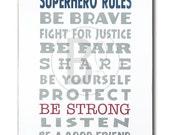 superhero rules art print poster