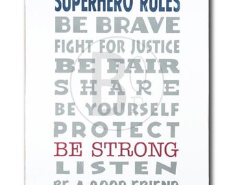 superhero rules art print poster