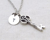 ON SALE  - Skeleton Key Necklace, Initial Necklace, Handstamped Necklace, Best friend Gift, Handmade