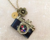Take a Picture Camera Necklace, Initial Necklace, Handstamped Necklace, Best friend Gift, Handmade