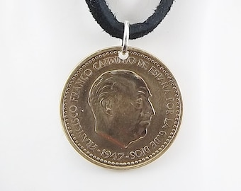 Spanish Coin Necklace, 1 Peseta, Coin Pendant, Leather Cord, Mens Necklace, Womens Necklace, Year 1947