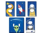 Switch Plate - Custom Hand Painted Wooden Light Switch or Electrical Cover Plate Outer Space Rocket Ship Theme