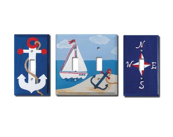 Switch Plate - Custom Hand Painted Wooden Light Switch or Electrical Cover Nautical Beach Ocean or Any Theme