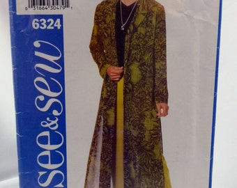 See & Sew 6324, Misses' Duster and Pants, Sewing Pattern, Misses/Misses Petite, Size A  8, 10, 12 - Uncut