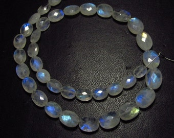 41 Pcs - AA - Quality So Nice - Rainbow Moonstone - Faceted Oval Briolettes Nice Flashy Strong Fire size - 5x6.5 - 7.5x10 mm