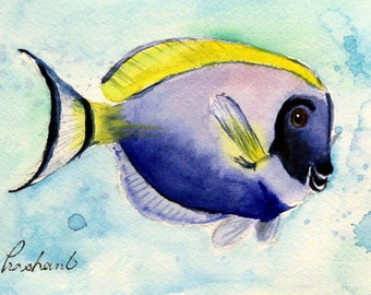 Tropical Blue Surgeonfish - Original watercolor painting - Dory - blue and yellow saltwater fish, illustration, wall art, home decor