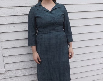 40s Blue Dress Vintage 1940s XL Plus 42 Bust Subtle Plaid