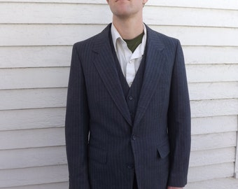 Mens Gray Suit Jacket and Vest Pinstripe Vintage 80s 39 38
