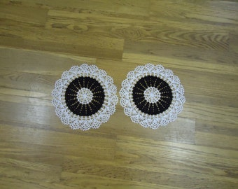 """Two new hand crocheted white and black and white doilies 12"""" circular"""