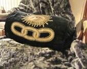 "Faux Chinchilla Throw Brunshwig & Fils Black Embroidered Wool 48 x 60"" Divine!"
