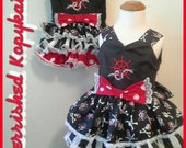 Nautical Ruffled Tiered Embroidered Retro Girls Toddler Dress in Pirate Prints or Custom Prints