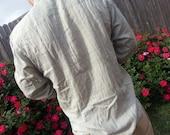 Pale Khaki Long Sleeve Men's Handmade Indian Cotton Button Down Pocket Shirt - Hudson H764