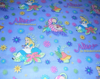 """Alice in Wonderland cotton fabric  - 44"""" wide - sold by the yard"""
