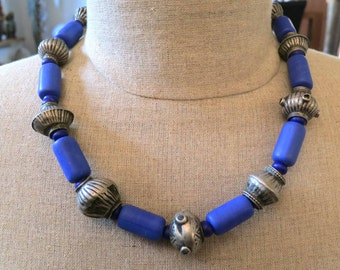 On sale! Cobalt blue glass and Baluch beads necklace