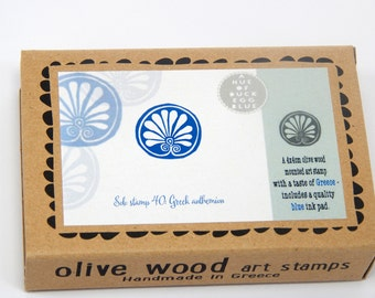 Greek Anthemion - Boxed Greece Inspired Olive Wood Stamp and Ink Pad