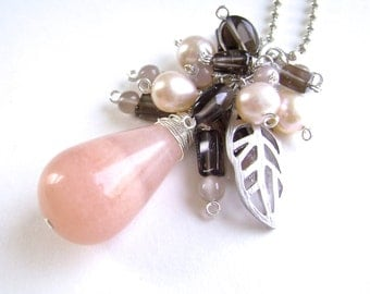 Peach Aventurine Cluster Necklace, Silver Bead Chain, Wire Wrapped Smoky Quartz, Moonstone, Freshwater Cultured Pearls, 931