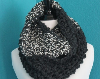 Charcoal Tweed Crochet Wool Infinity Scarf