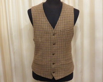 Vintage 70s 80s Map Wool and Silk Brown Beige and Grey Houndstooth Mens Vest Waistcoat