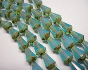 18 Blue Opal Picasso Czech Glass Faceted Teardrop Beads 8x5mm