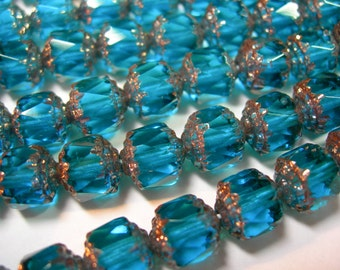 25 8mm Teal with Gold Firepolished Cathedral Czech Glass Beads