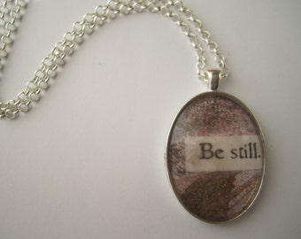 Be Still - Collage & Poetry Pendant