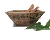 Square Serving Bowl Earth Tone Brown and Green