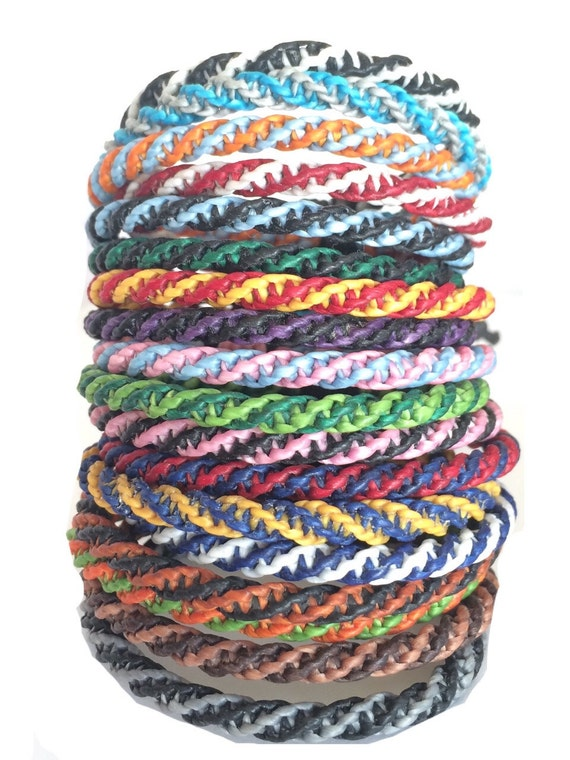 Two Tone Wax Cotton Adjustable Thai Wristband Handmade Bracelet