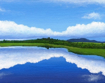Rum Mountain No. 2, Greenville, Maine -  4 x 6 inch Original Painting by SBMathieu