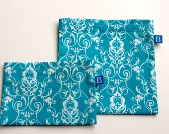 Reuseable Eco-Friendly Set of Snack and Sandwich Bags in Turquoise Floral Fabric