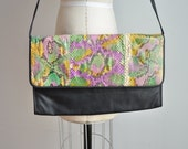 Vintage CLAUDIO GUALDI dyed snakeskin oversize convertable clutch/shoulder bag