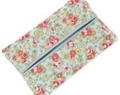 Purse Tissue Holder,  Shabby Mint Green Floral, Kleenex Holder, Travel Tissue Cozy, Pocket Tissue Holder