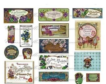 Perfume Label Violet Digital Collage Sheet ON SALE!! Digital Download / French Vintage Cologne Parfum Ephemera #3 Printable INSTANT Download