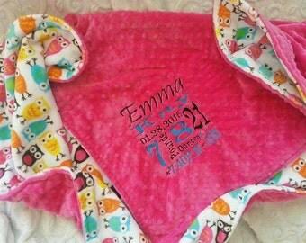 Fuchsia Minky Blanket - Personalized baby blanket -Fuchsia minky dot with circus owl print