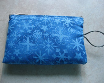 snowflake royal blue padded makeup jewelry bag