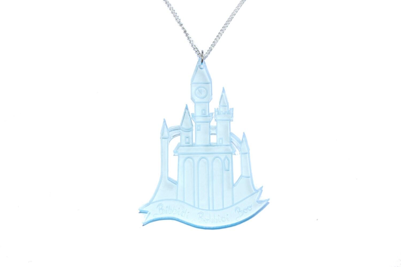 cinderella castle necklace in blue by ilovecrafty